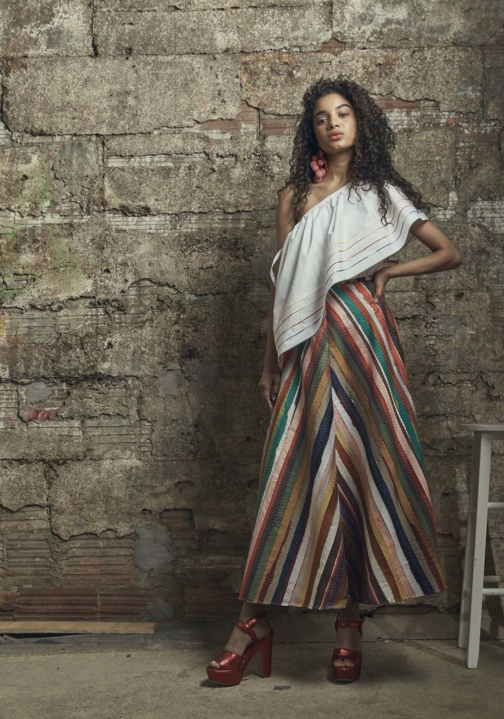 Rosie Assoulin | Resort 2017 collection | Off-shoulder | Long Skirts | Stripes | Spanish flair