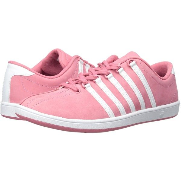 K-Swiss Classic SL P (Bubblegum/White) Women's Shoes (74 AUD) ❤ liked on Polyvore featuring shoes, athletic shoes, pink, stitch shoes, sports footwear, retro shoes, lightweight shoes and pink athletic shoes