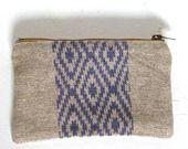 Trousse/Porte Monnaie en Lin avec motif violet (impression sur tissu) :navajo : Porte-monnaie, portefeuilles par cy-boutique