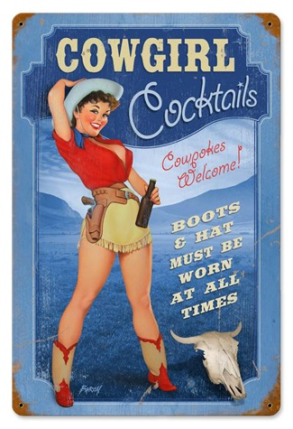Cowgirl Cocktails Pinup Girl 18 x 12 Vintage Metal Sign | Man Cave Kingdom
