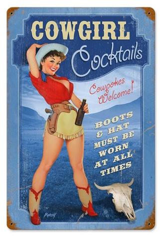 Cowgirl Cocktails Pinup Girl 18 x 12 Vintage Metal Sign | Man Cave Kingdom