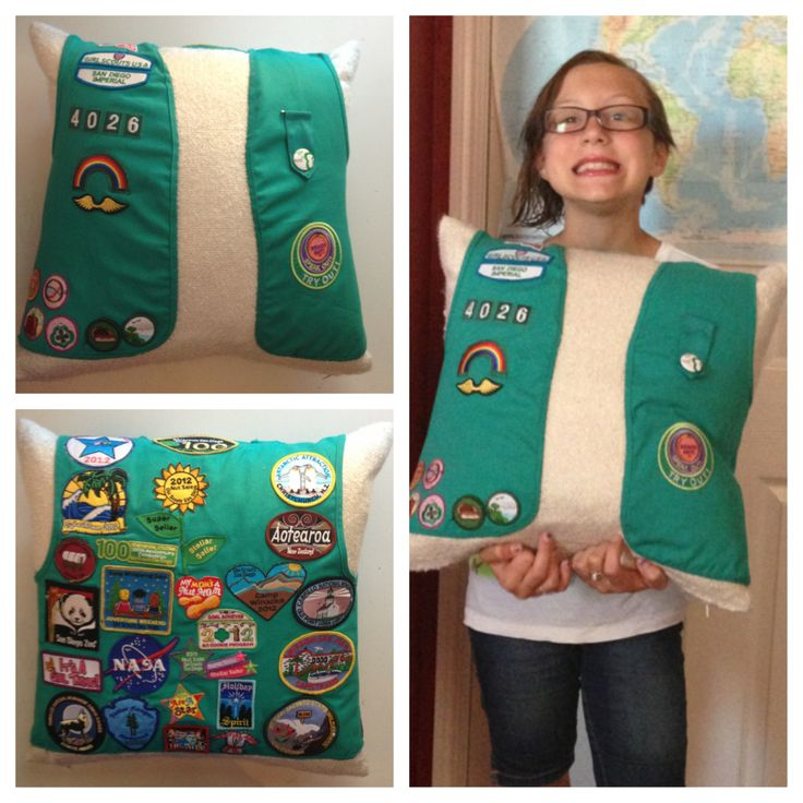"""Pinner said, """"This is what I did with my daughter's Junior vest after she bridged to Cadette. Just sewed it on an 18"""" square pillow!"""""""