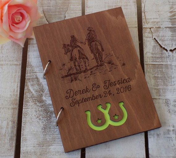 Wedding Guest Book Horse Lover Guestbook Horseshoe Wood