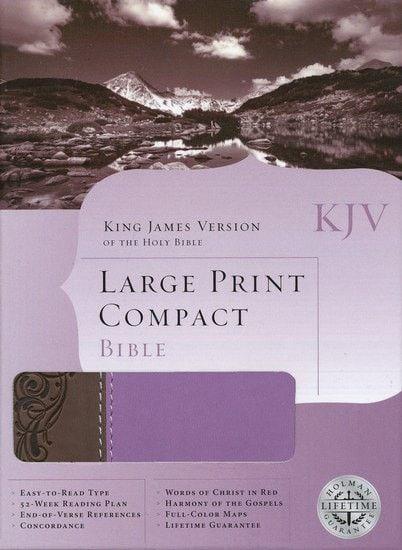 Large Print Compact Bible-Brown/Purple Leather (KJV)
