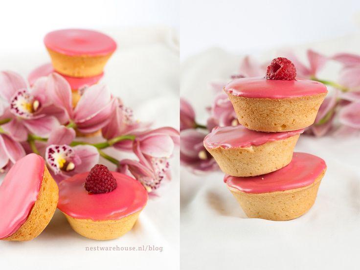 Roze koeken met frambozenglazuur recept