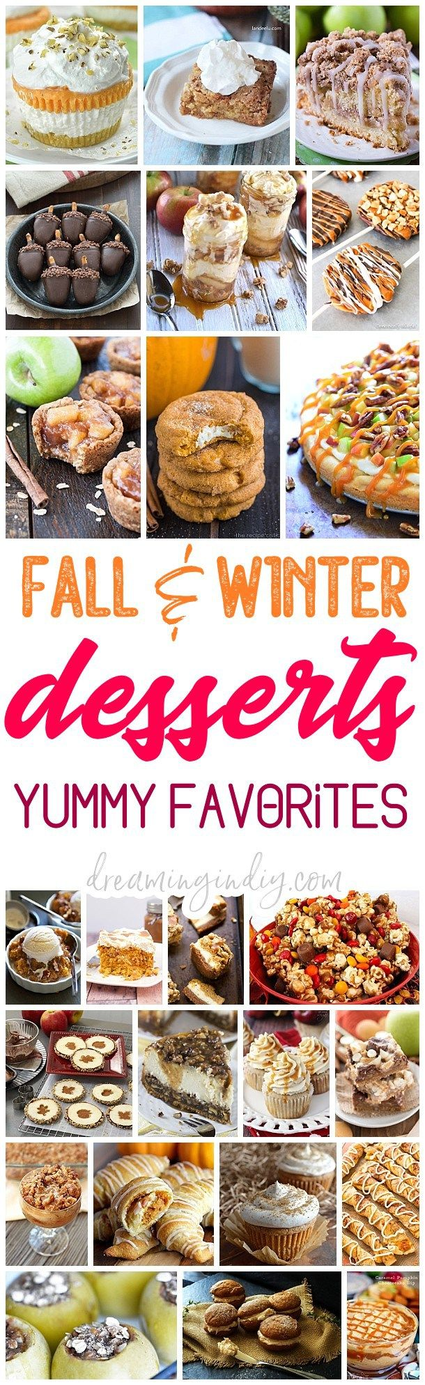 The BEST Easy Fall Harvest, Autumn Holidays and Winter Party Desserts & Treats Recipes Perfect for Your Thanksgiving Dessert Table and Christmas Holiday Party Trays! Pumpkin, Cinnamon, Apple and Caramel flavored favorites - Dreaming in DIY