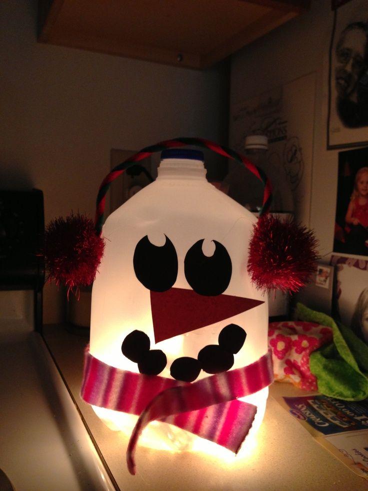 Milk Carton Halloween Crafts Part - 36: Pintrest+Gallon+Milk+Carton+Crafts | Snowman! Made With A Gallon