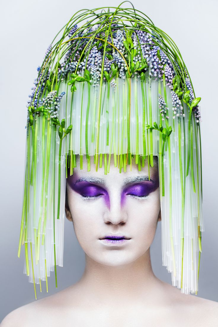 Turcan Dmitry designer floral art inspiration head piece muscari tube body art make up