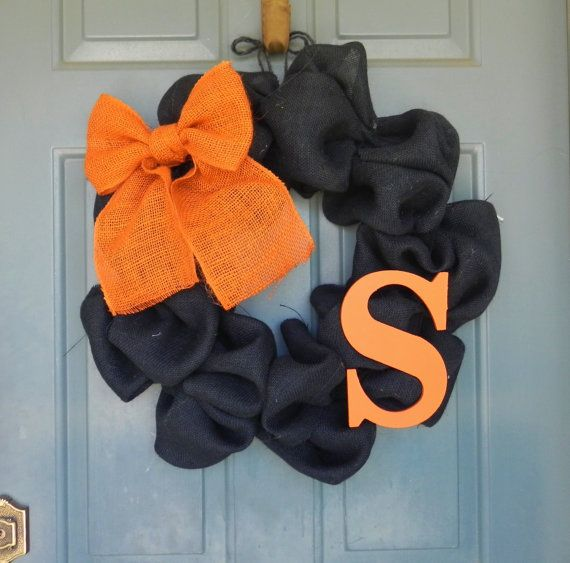 Burlap Halloween Wreath with Bow and Monogram - Customize your Colors and Make it Year round on Etsy, $60.00