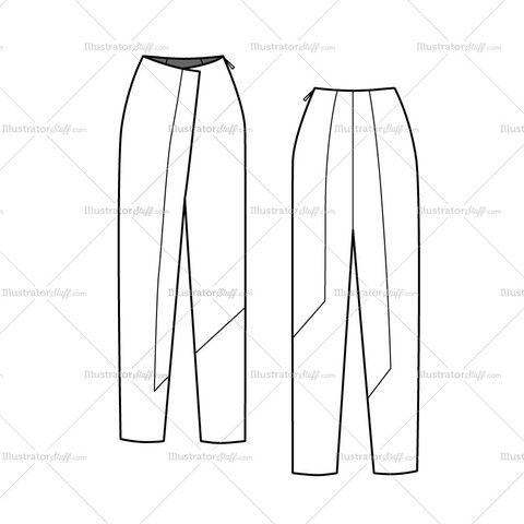 Women's Colorblock Wrap Pants Fashion Flat Template