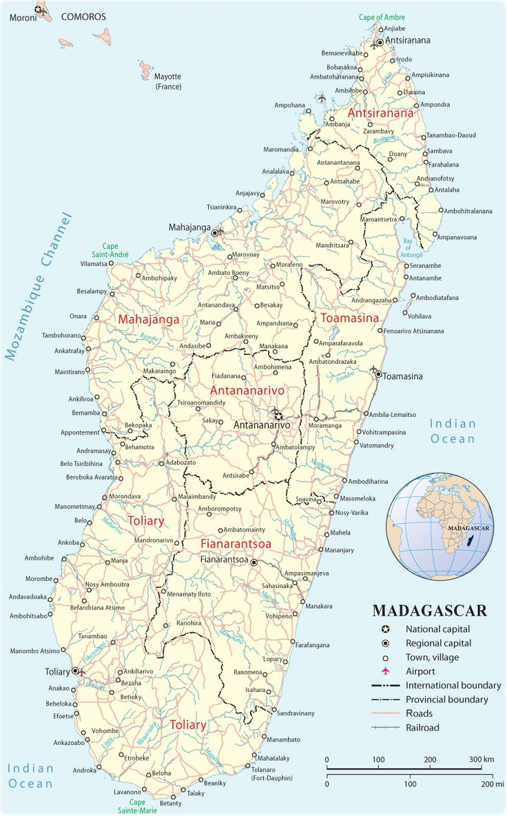 Madagascar - Map with airport cities