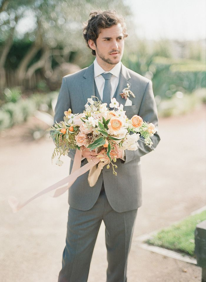 Gray and Peach Garden Wedding in Sonoma    #weddings #weddingideas #winecountry #fineartweddings #groom #suits #bouquet