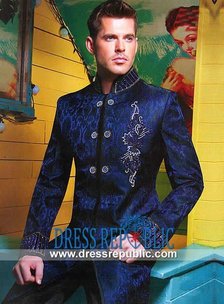 Dark Royal Wide Stand Collar Men's Sherwani with Intricate Embellishment Work