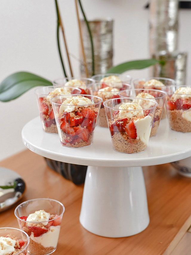 Strawberry Cheesecake in a Jar - a light, refreshing cheesecake that's perfect for a party.