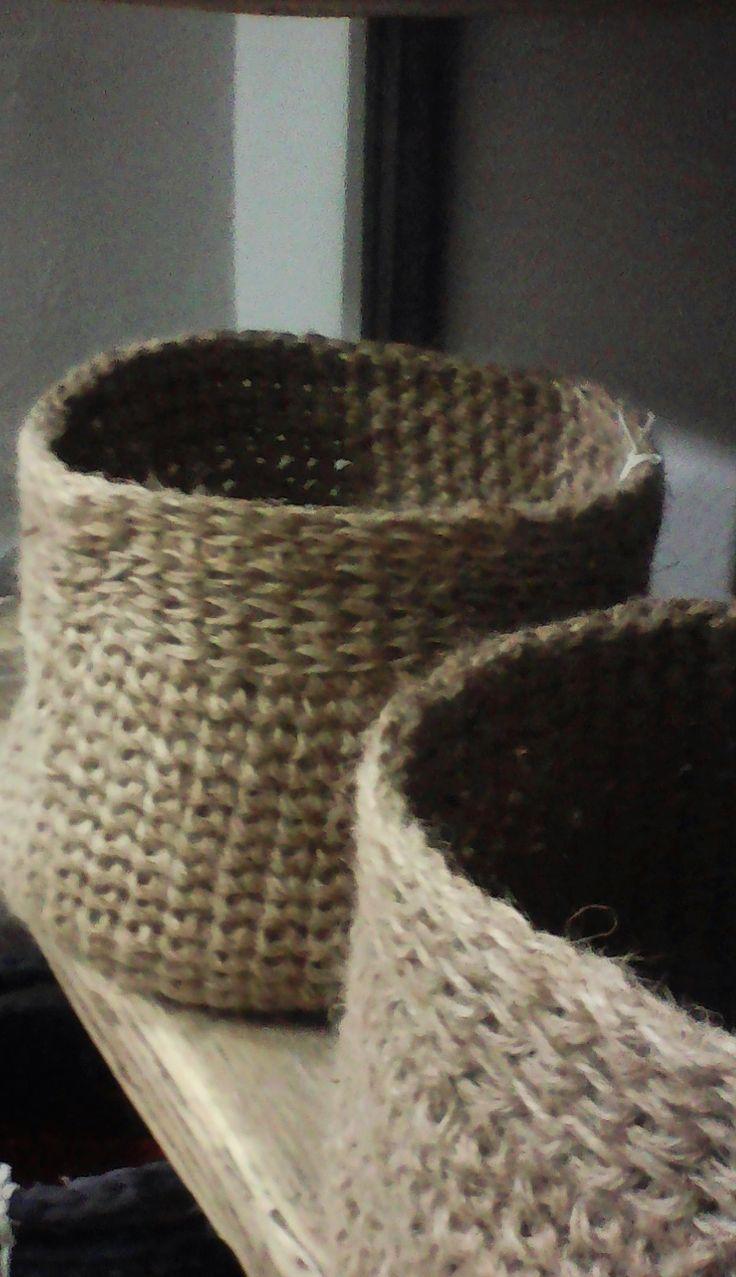 L handmade crochet basket