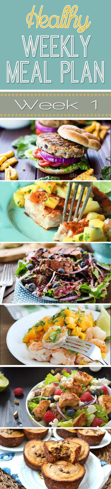 A delicious mix of healthy entrees, snacks and sides make up this Healthy Weekly Meal Plan for an easy week of nutritious meals your family will love! #MealPlan #Menu #Healthy
