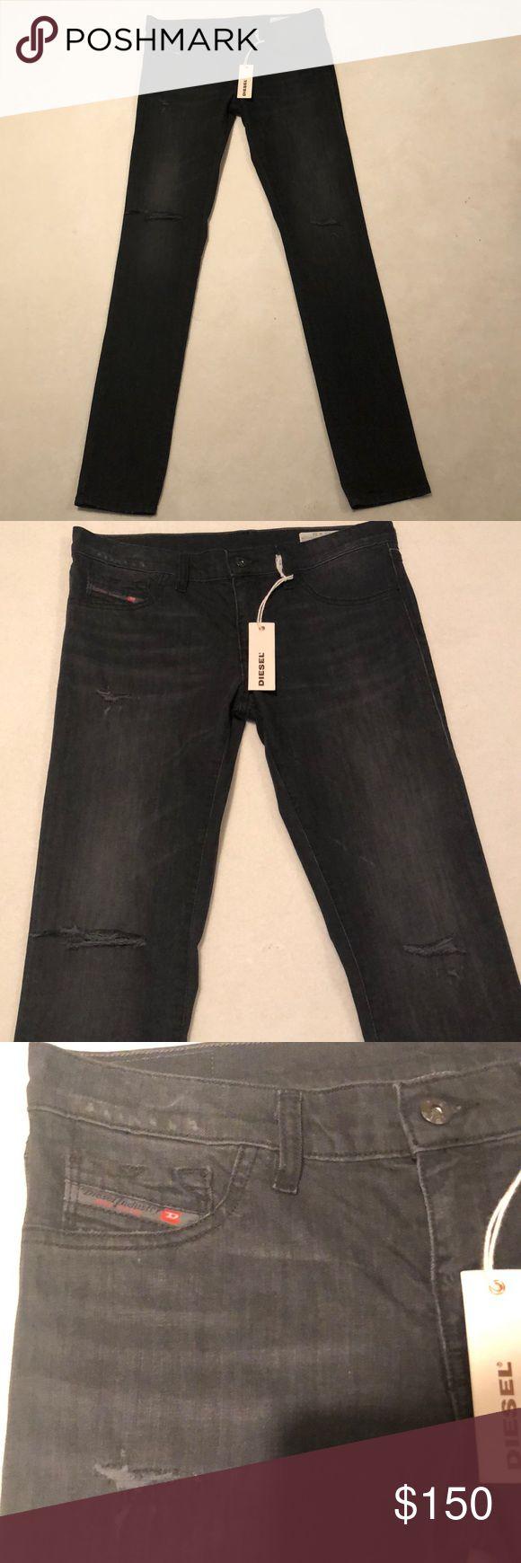 """Nwt deisel Distressed look jeans! Very cool ripped jeans """"distressed"""" look deisel jeans color is dark grey/black! Inseam is 33"""". Diesel Jeans Skinny"""
