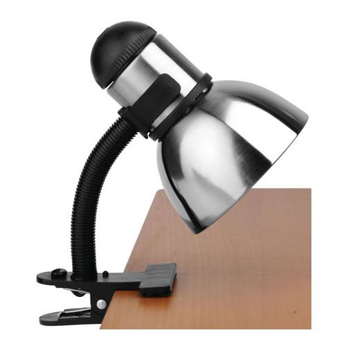 Whether you're reading in bed or studying quietly at your desk the Henrik Adjustable Clip-On Desk Lamp provides bright versatile lighting for your personal space.  The sleek silver metal shade and clip-on design make this office light perfect for the workspace of any student or business professional.  UL listed.The