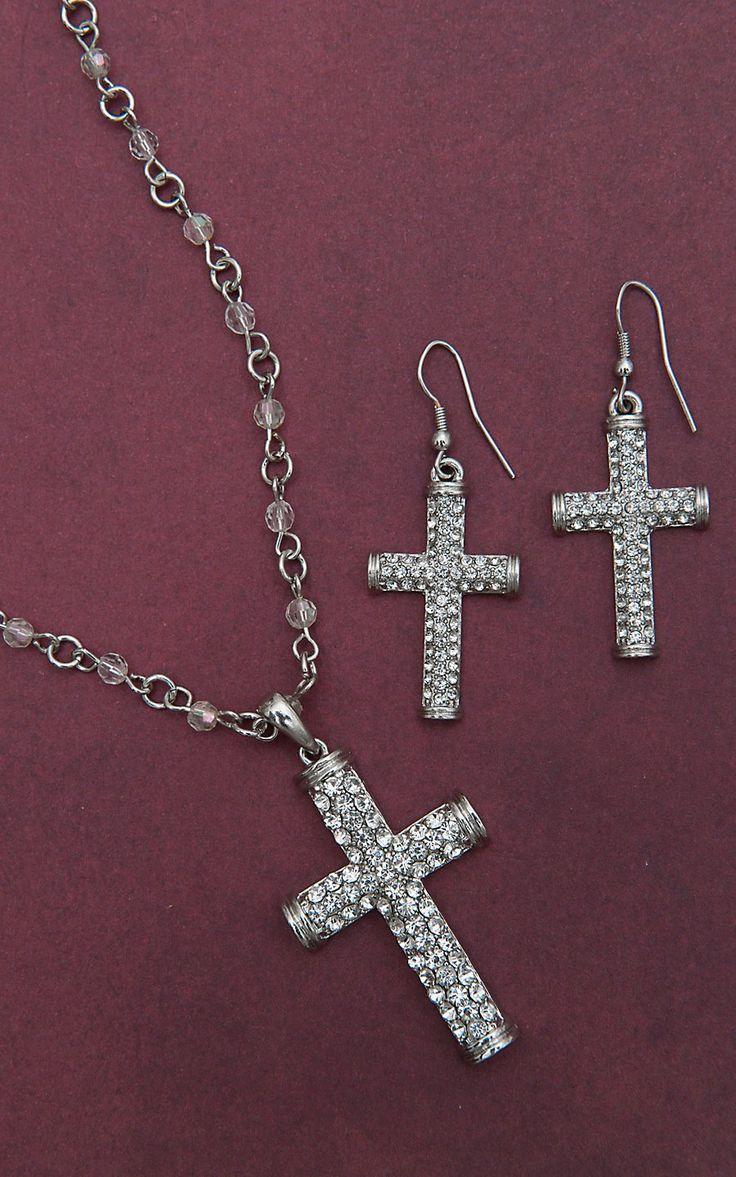 Blazin Roxx® Silver Crystal Cross Jewelry Set 30426