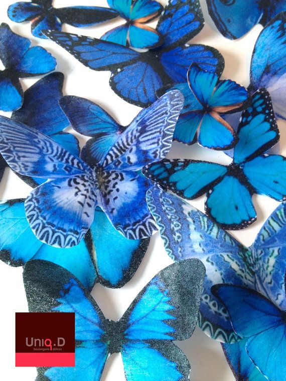 SALE 100 royal blue wedding - wedding cake decorations - FREE SHIPPING - royal blue edible butterflies - cake toppers by Uniqdots on Etsy