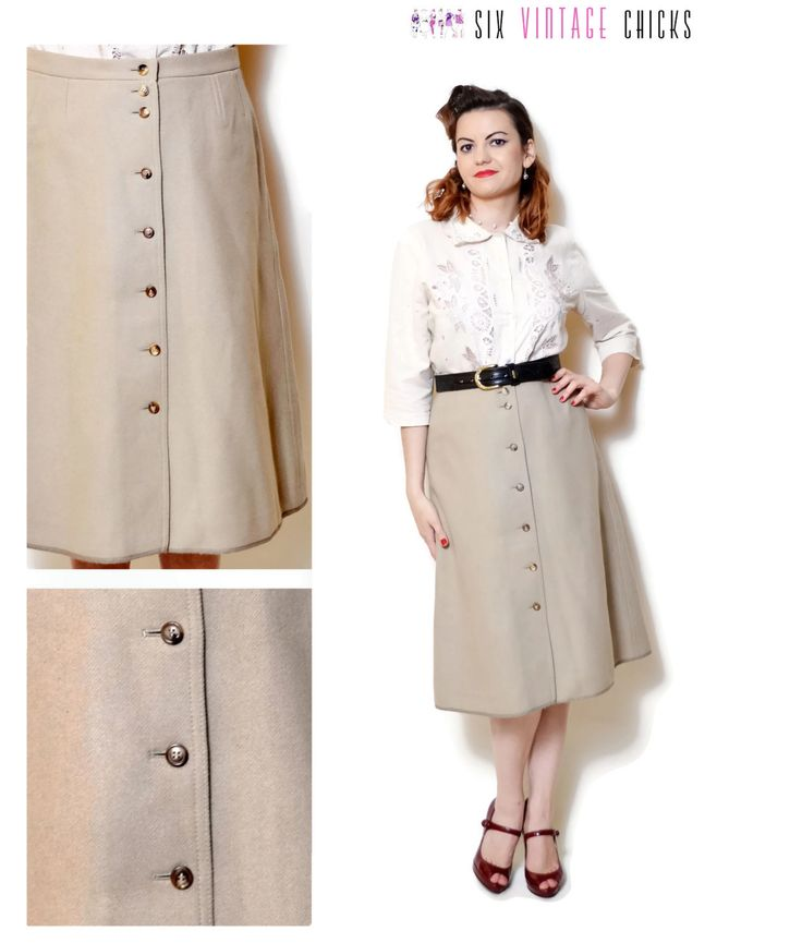 boho Skirt vintage high waisted wool skirt women clothing office clothes beige midi skirt 70s clothing vintage minimalist button down skirt by SixVintageChicks on Etsy