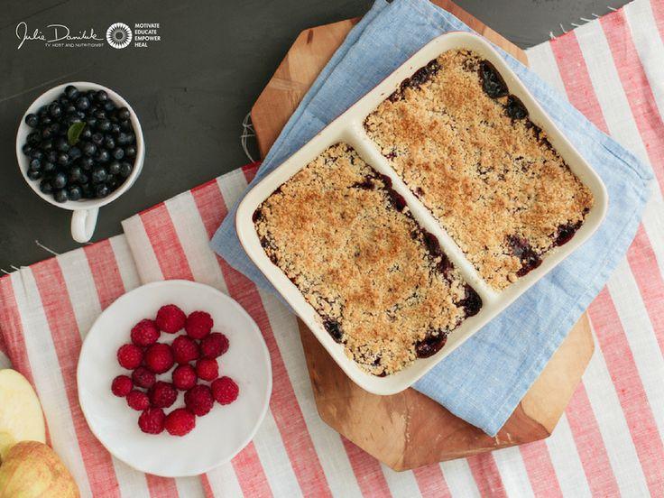 Gluten-Free Apple Berry Crisp  by JulieDaniluk.com