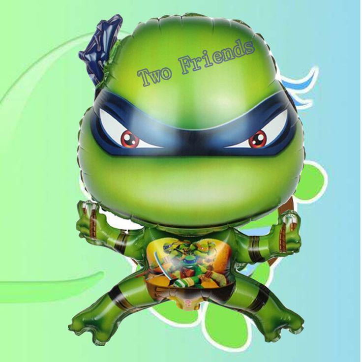2pcs/lot 40*62cm cartoon 3D Ninja Turtles foil balloons kids Birthday Party decor baby shower air globos inflatable toys balls #Affiliate
