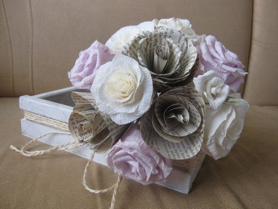 Rustic Bride Bouquet Wedding Crepe Paper Flowers by moniaflowers
