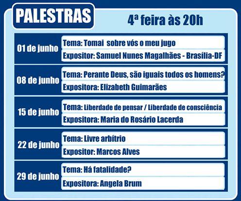 Calendário de Palestras do SEF Junho/2016 – Sociedade Espírita Fraternidade - Niterói - RJ - http://www.agendaespiritabrasil.com.br/2016/06/01/calendario-de-palestras-do-sef-junho2016-sociedade-espirita-fraternidade-niteroi-rj/