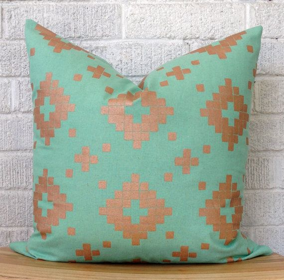 Mint And Copper Aztec Pillow Cover, Pale Teal Metallic Shimmer Kilim Boho
