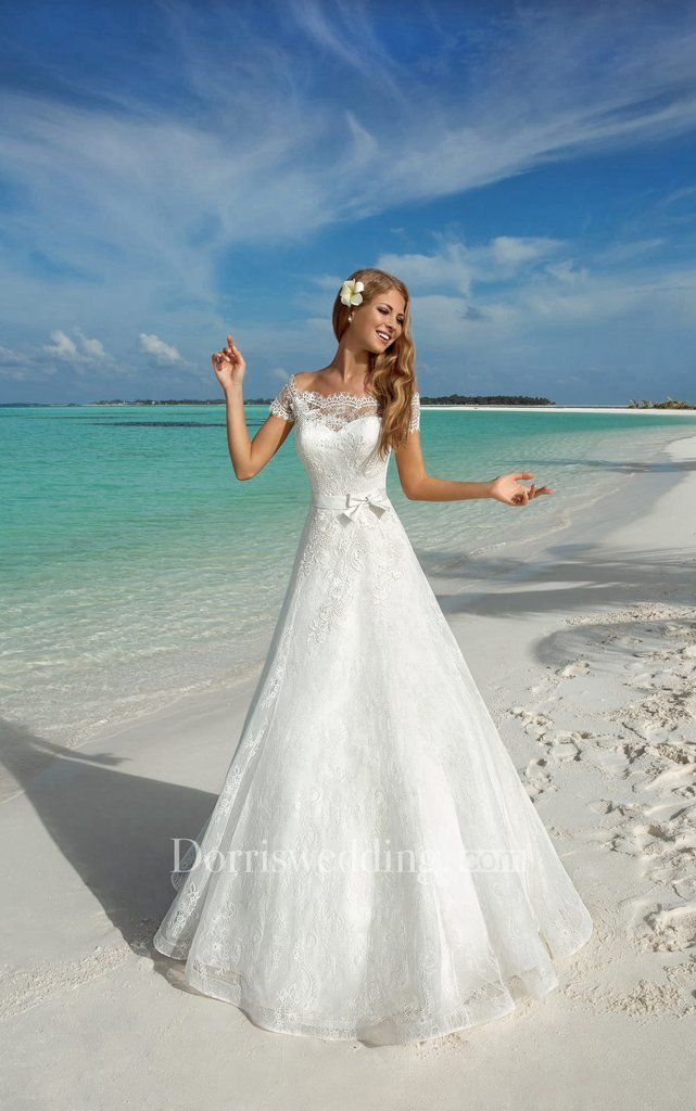 Royal Ball Gown Corset Back Lace Wedding Dress With Bow 714151