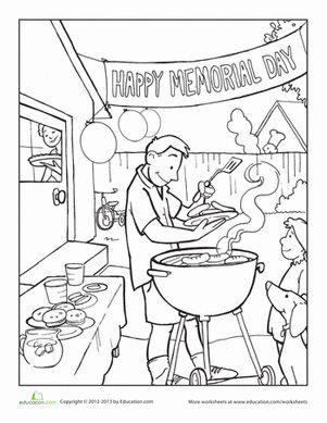 Memorial Day Second Grade Holiday Worksheets: Memorial Day Coloring Page
