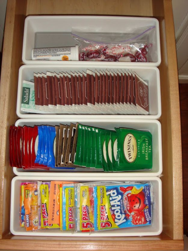 DIY Organizing Ideas for Kitchen - Sachet Container - Cheap and Easy Ways to Get Your Kitchen Organized - Dollar Tree Crafts, Space Saving Ideas - Pantry, Spice Rack, Drawers and Shelving - Home Decor Projects for Men and Women http://diyjoy.com/diy-organizing-ideas-kitchen