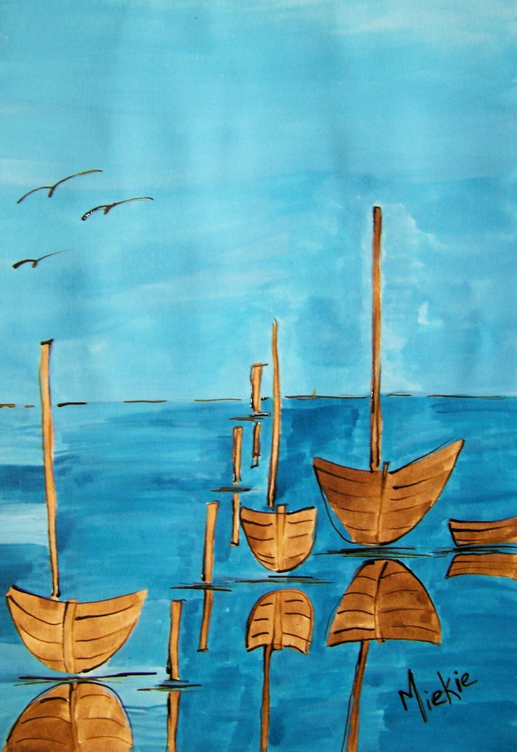 Acrylic ink on Bockingford paper.  A2 size.  Simple shapes to understate a tranquil scene.  R600 unframed.  R1300 framed.
