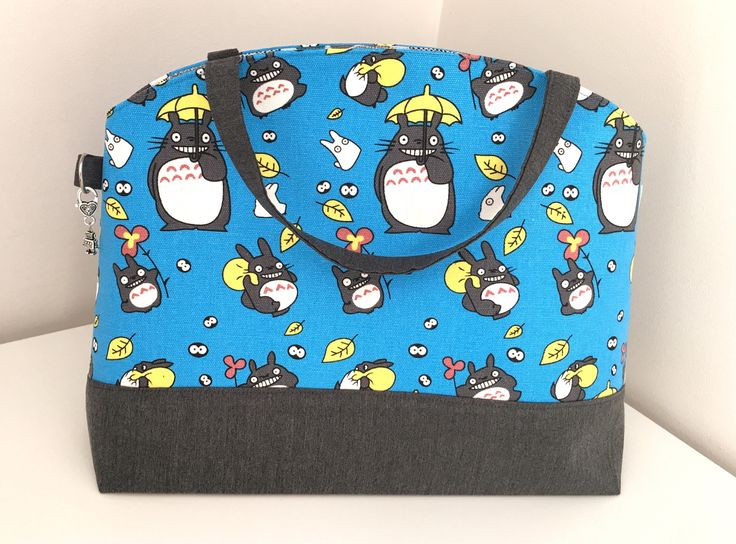 Large Tote Bag, Project Bag, Knitting Bag, Sweater Bag, Blue Totoro Bag by MoAndMi on Etsy https://www.etsy.com/au/listing/543957199/large-tote-bag-project-bag-knitting-bag