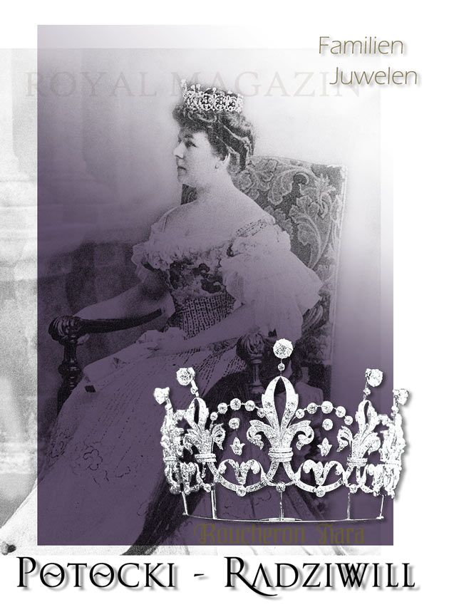 Elisabeth Princess Radziwill, married Count Potocki in 1889. As one of her wedding presents she got this Boucheron Tiara, which was similar to the Tiara of Viceraine of India Mary Lady Curzon made by Boucheron Paris in 1898 for Engl Pound 1400
