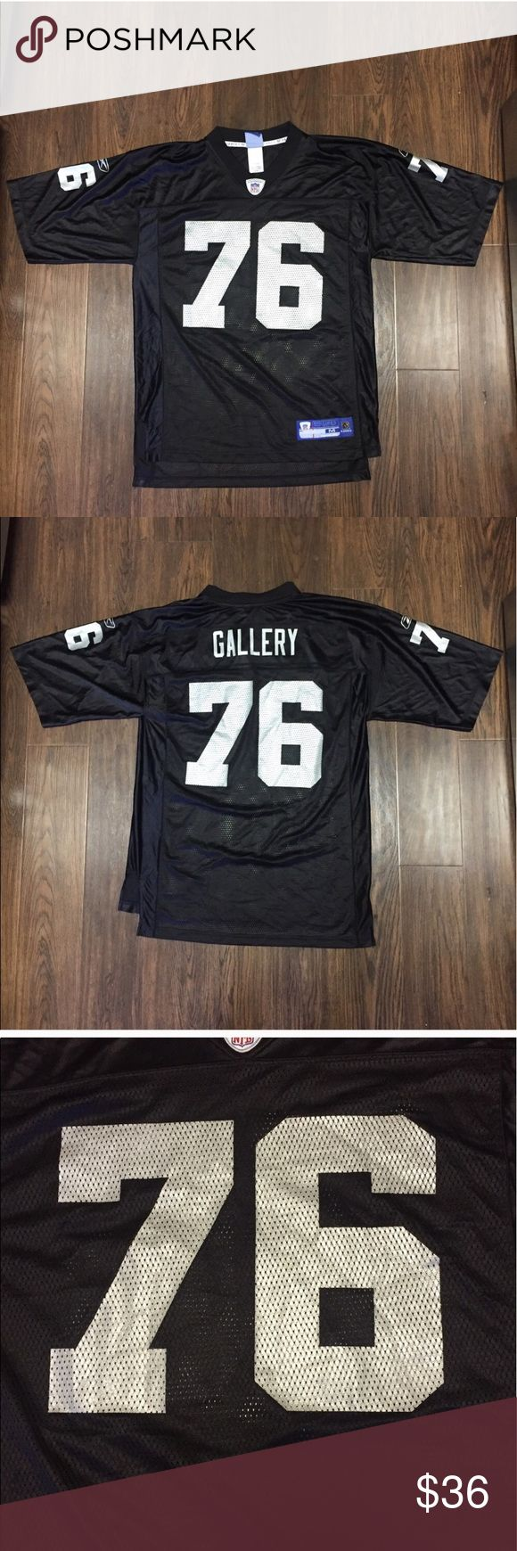VTG Reebok Oakland Raiders Robert Gallery Jersey M Brand : Reebok  Color : Black/Silver  Size : Men's Medium   Letter and numbers screen printed on the jersey  100% AUTHENTIC  COMES FROM A SMOKE FREE HOME Reebok Other