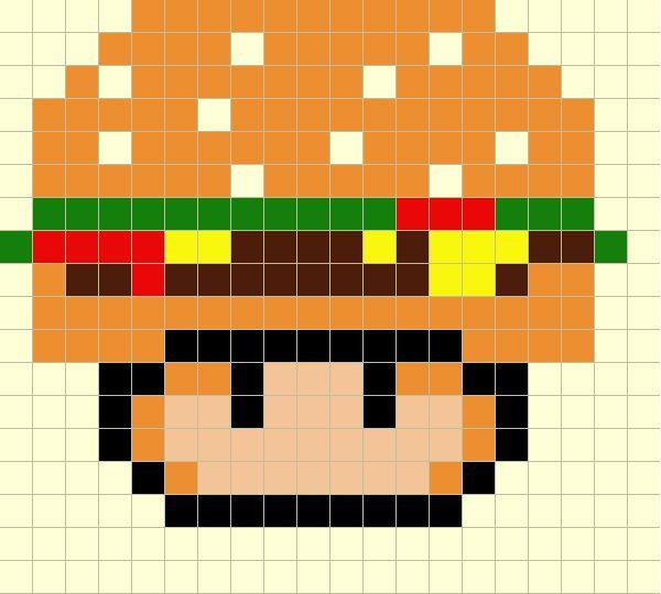Plantilla Hama Seta Hamburguesa (Mario Bros) www.tuburbuja.es
