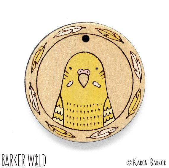Yellow Budgie Pyrography bird pendant by Barker Wild at barkerwild.com (also on etsy). Copyright Karen Barker #BarkerWild