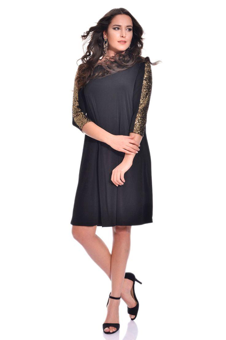 Angelino - MD801 Büyük Beden Payet Detaylı Siyah Elbise-Abiye