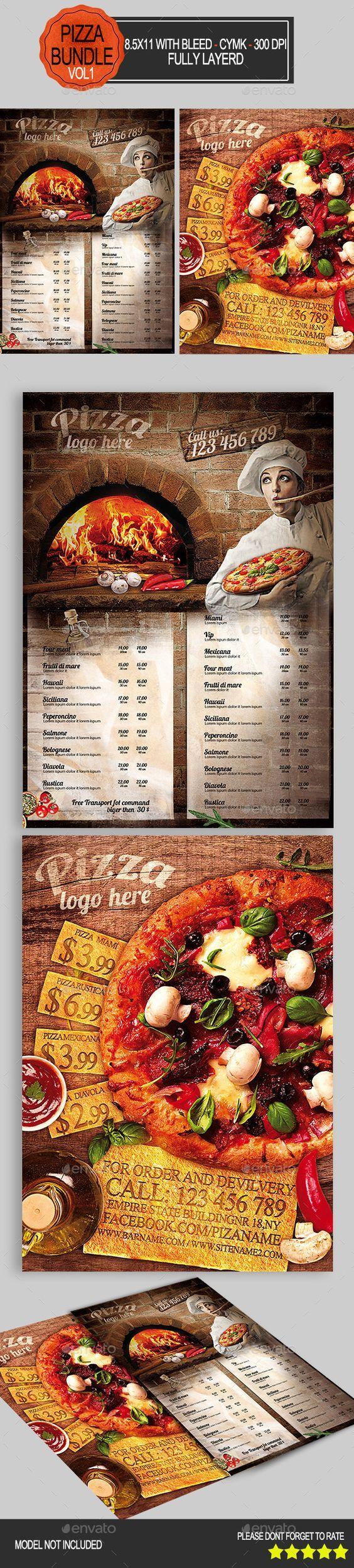 Pizza Flyer Bundle Template #design Download: http://graphicriver.net/item/pizza-flyer-bundle-vol1-/9342636?ref=ksioks:
