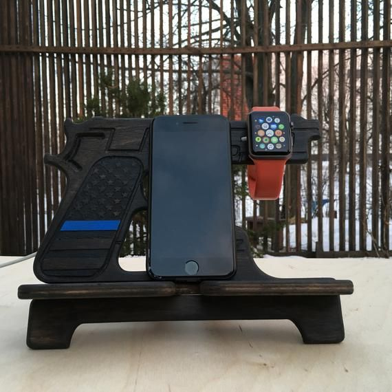 Apple Watch and  iPhone stand. Blue lives matter. Dock station. Custom cop gifts