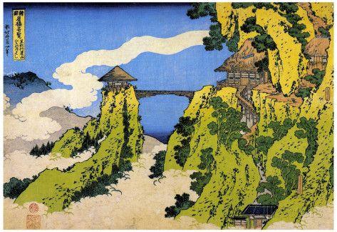 Katsushika Hokusai Temple Bridge Art Poster Print Prints at AllPosters.com