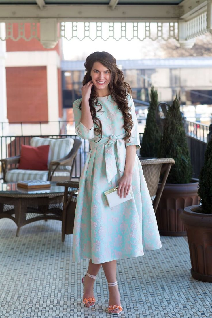 The Abbey Dress. Available in sizes S-3X on our website! Dainty Jewell's Modest Designer Apostolic Dress