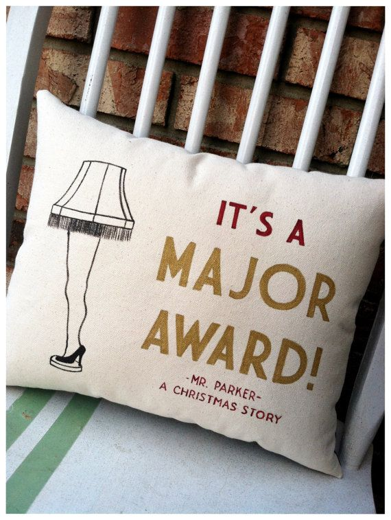 A Christmas Story, Leg Lamp It's a Major Award- Holiday Movie Quote Pillow on Etsy, $42.00