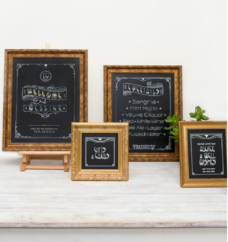Ornate framed chalkboard signs for luxe styling at your wedding or event.