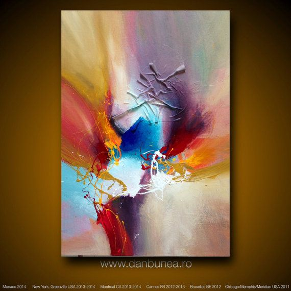 """Large abstract painting by Dan Bunea: """"Summertime"""", 70x100cm on Etsy, 600,00 $"""