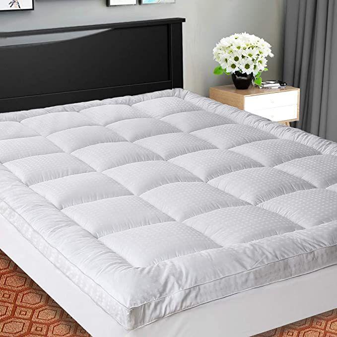 Cooling Mattress Pad Cover Pillow Top, King Mattress Topper On Queen Bed