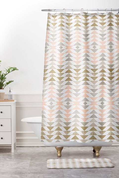 """Metallics give pink an edge,"" says architect Mishi Hosono. ""I learned about this combination from a fashion designer friend and am thinking of how to use pinks and oranges in architecture now.""  BUY NOW: shower curtain, $60, target.com"
