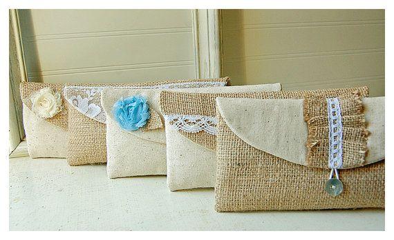 burlap bag clutch purse lace wedding set 3 rustic cotton linen tiffany blue Personalize rose Bridesmaid party Pouch gift MakeUp tagt